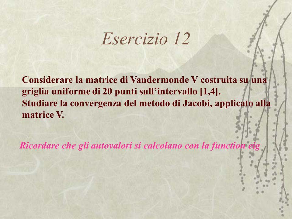 Esercizio 12 Considerare la matrice di Vandermonde V costruita su una griglia uniforme di 20 punti sull'intervallo [1,4].